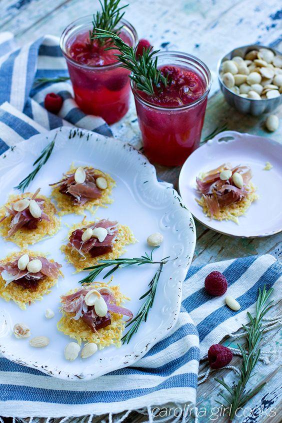 Manchego Crisps Raspberry Rosemary Shrub Cocktails