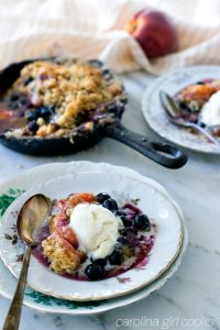 How to make Peach Blueberry Crumble With Lavender Tea Cookie Topping