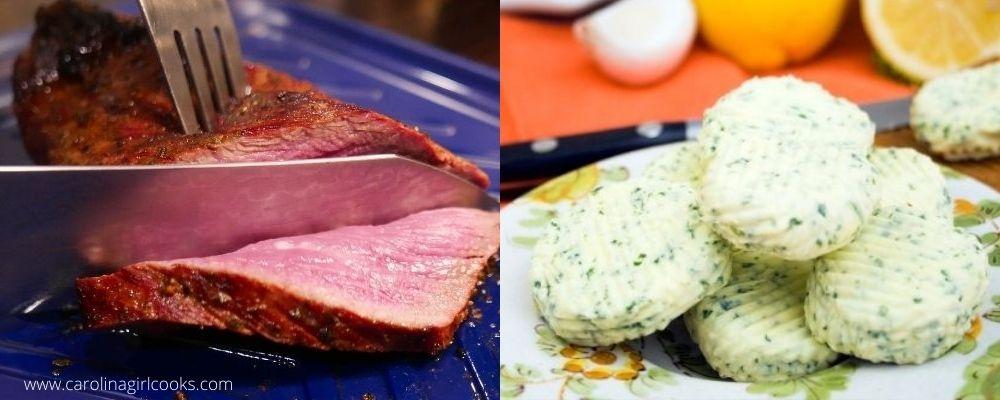 Garlic Rubbed Tri Tip Steak With Parsley Coriander Butter