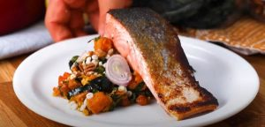 how to make Glazed Salmon Over Asian Butternut Squash Salad
