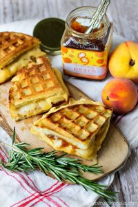 Southern Sundays: Peach and Gouda Grilled Cheese on Rosemary Waffles Recipe