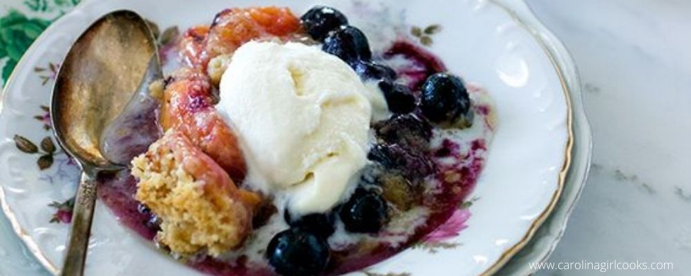 Peach Blueberry Crumble With Lavender Tea Cookie Topping