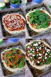 Spinach, Roasted Red Pepper pizza