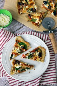 Goat Cheese Pizza on table