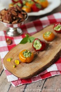 A delicious stuffed pepadew peppers on table