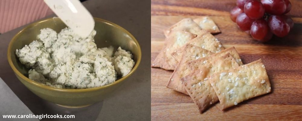 A delicious Whipped herbed goats cheese and homemade crackers
