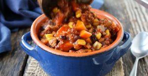 Whole30 turkey and sweet potato chili in Dutch Oven