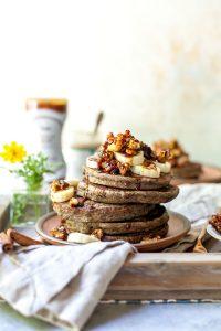 buckwheat banana pancake plate on table