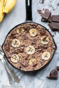 chocolate chunk banana in skillet