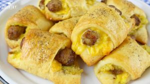 Breakfast rolls with egg, sausage, and cheese