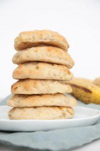 sugar free banana cookies stacked on plate