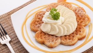 waffle with honey and banana topping